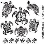 decorative turtles | Shutterstock .eps vector #77343589