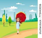 sweet girl walking under red...   Shutterstock .eps vector #773443036