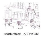 Drawing Of Sidewalk Cafe Or...