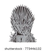 hand drawn iron throne of... | Shutterstock .eps vector #773446132