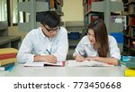 young students campus helps... | Shutterstock . vector #773450668