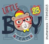 Cute Little Bear Boy Face...