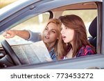 two young girlfriends traveling ... | Shutterstock . vector #773453272