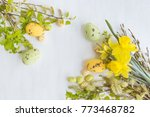 easter eggs and willow branches ... | Shutterstock . vector #773468782