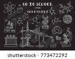 chemistry. hand sketches on the ... | Shutterstock .eps vector #773472292