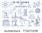 chemistry. hand sketches on the ... | Shutterstock .eps vector #773472298