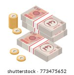 isometric stacks of 50 pound... | Shutterstock .eps vector #773475652