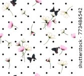 Stock vector blooming wild flowers seamless pattern with polka dots on white background in hand drawing style 773486542
