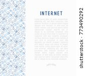 internet concept with thin line ... | Shutterstock .eps vector #773490292