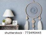 gray beige dream catcher in... | Shutterstock . vector #773490445