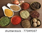 spices and herbs in metal ... | Shutterstock . vector #77349337