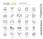 Collection of restaurant thin line icons | Shutterstock vector #773495176