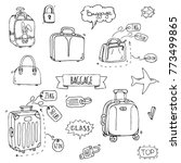 hand drawn doodle baggage icons ...   Shutterstock .eps vector #773499865