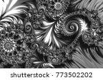 monochrome fractal embossed... | Shutterstock . vector #773502202