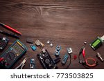 electronic components on a... | Shutterstock . vector #773503825