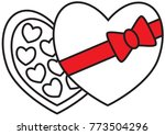 chocolate box and chocolates ... | Shutterstock .eps vector #773504296