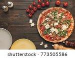 top view of italian pizza ... | Shutterstock . vector #773505586