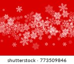 white snowflakes falling on red ... | Shutterstock .eps vector #773509846