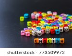 colorful english alphabet cube... | Shutterstock . vector #773509972