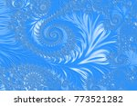 light blue embossed fractal... | Shutterstock . vector #773521282