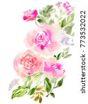 cute watercolor flower bouquet... | Shutterstock . vector #773532022