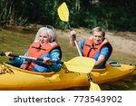 elderly marriage rowing in the... | Shutterstock . vector #773543902