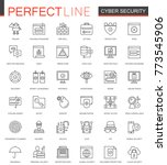 cyber security thin line web... | Shutterstock .eps vector #773545906