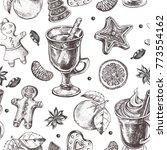 seamless decorative pattern... | Shutterstock .eps vector #773554162