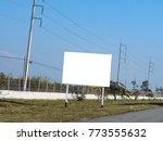 blank billboard on blue sky... | Shutterstock . vector #773555632