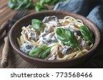 portion of creamy mushroom... | Shutterstock . vector #773568466