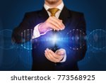 businessman with dna concept in ... | Shutterstock . vector #773568925