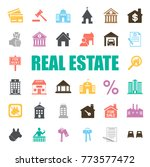 real estate icons set | Shutterstock .eps vector #773577472