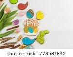 tulips and gingerbread cookies... | Shutterstock . vector #773582842