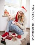 teenage girl with christmas... | Shutterstock . vector #773587312