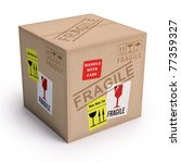 Package ready to send with messages of fragile. - stock photo