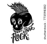 punk rock music skull label | Shutterstock .eps vector #773598382