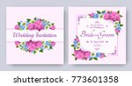 wedding invitation with flowers ... | Shutterstock .eps vector #773601358