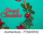 red gleaming merry christmas...   Shutterstock . vector #773603542
