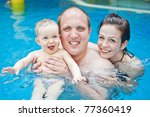 young family with baby having... | Shutterstock . vector #77360419