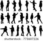 childrens black silhouettes. | Shutterstock .eps vector #773607226