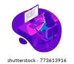 A girl working on the computer in the evening on the dark background. Isometric 3d vector illustration. | Shutterstock vector #773613916
