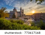 sunset view of madrid cathedral ... | Shutterstock . vector #773617168