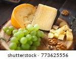 whole piece and diced cheese... | Shutterstock . vector #773625556