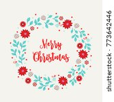 christmas wreath with flower ... | Shutterstock .eps vector #773642446