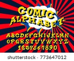 alphabet in style of comics ...