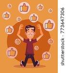 happy smiling man character get ... | Shutterstock .eps vector #773647306
