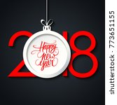 2018 happy new year greeting... | Shutterstock .eps vector #773651155