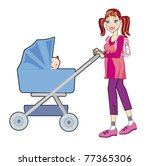 Young happy mother with a baby in a pram on white background - stock vector