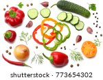 mix of slice of tomato  basil... | Shutterstock . vector #773654302