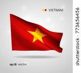vietnam 3d style glowing flag... | Shutterstock .eps vector #773656456